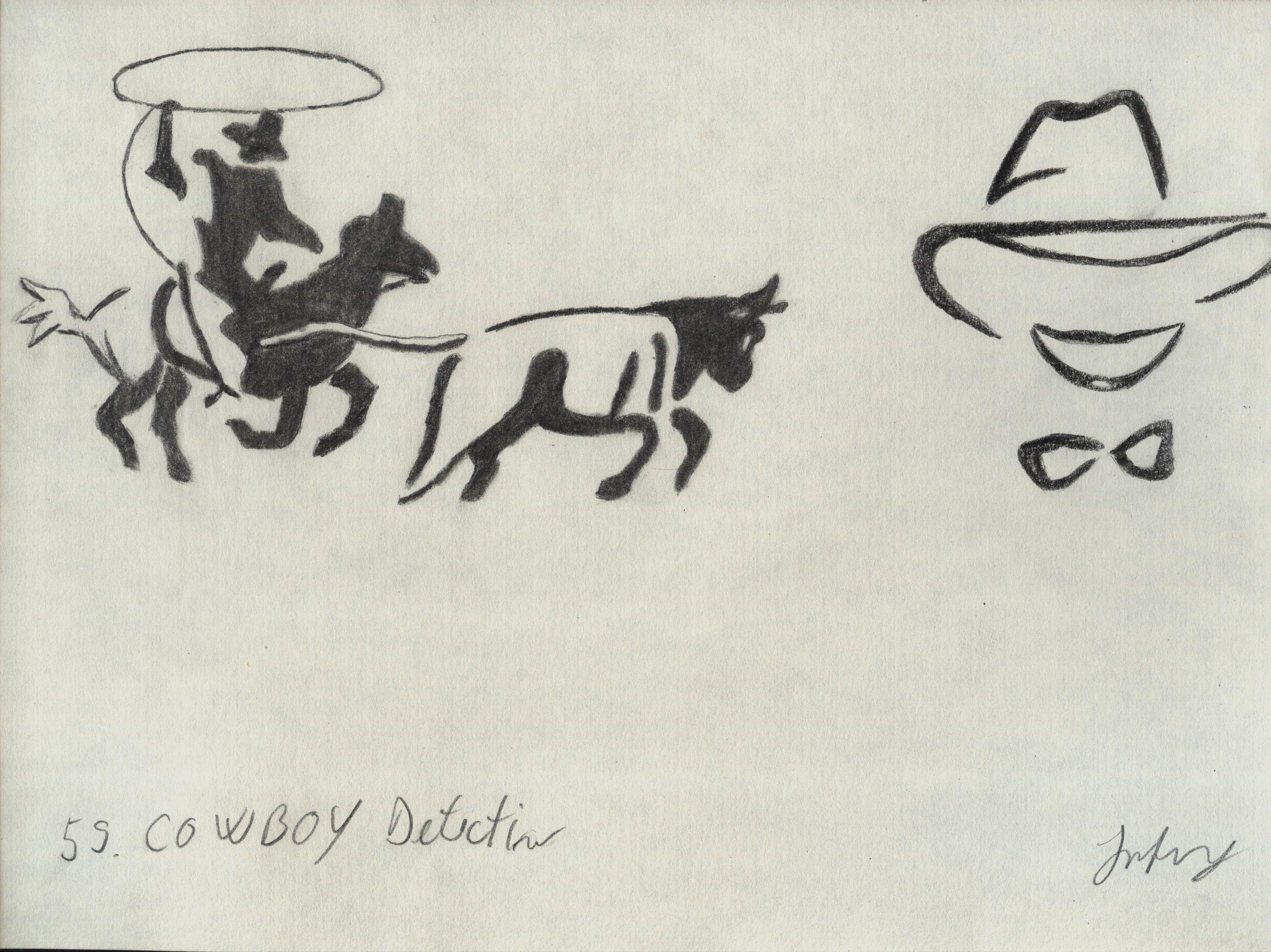 desen cu cowboy si femeie detectiv