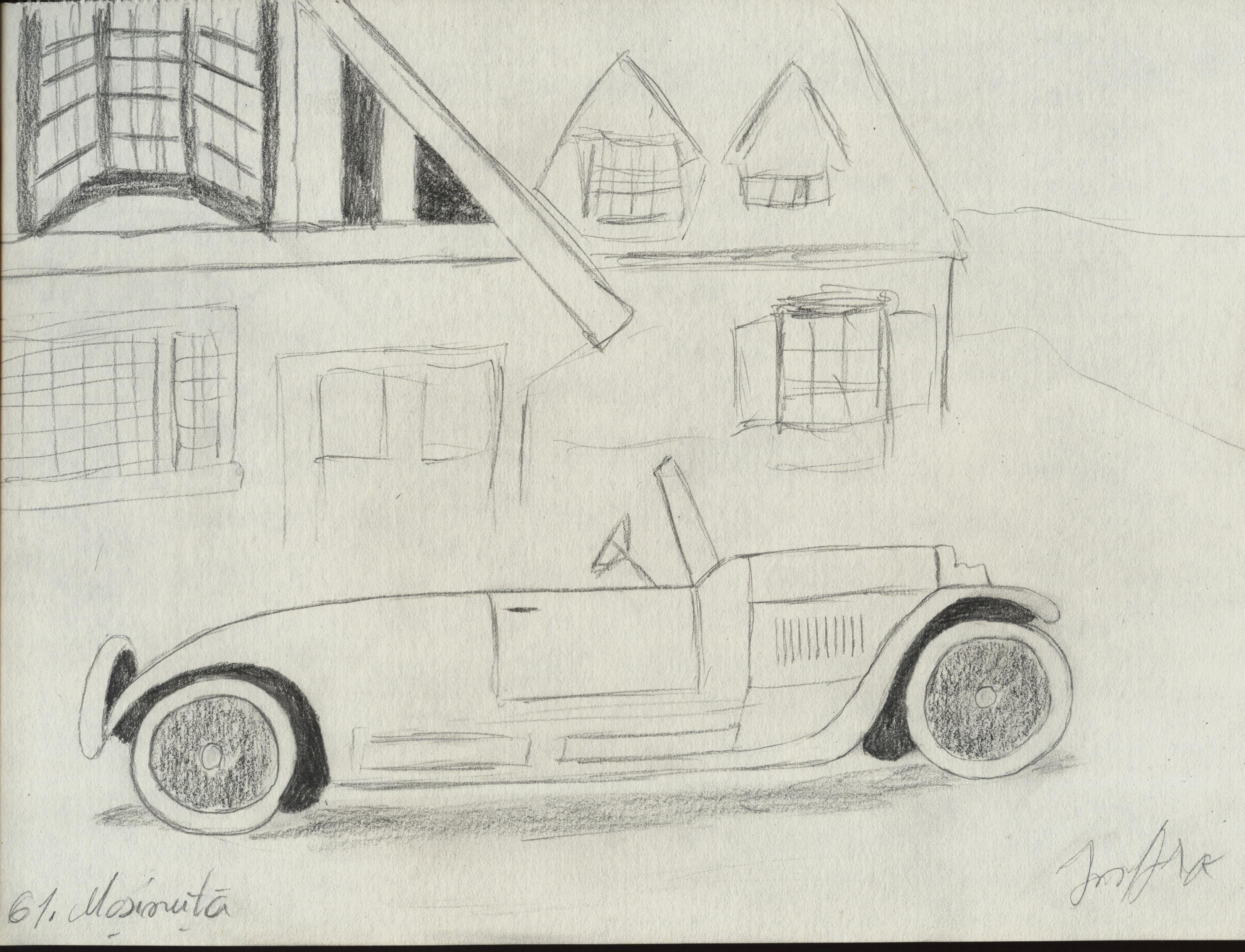 desene cu masini in fata caselor