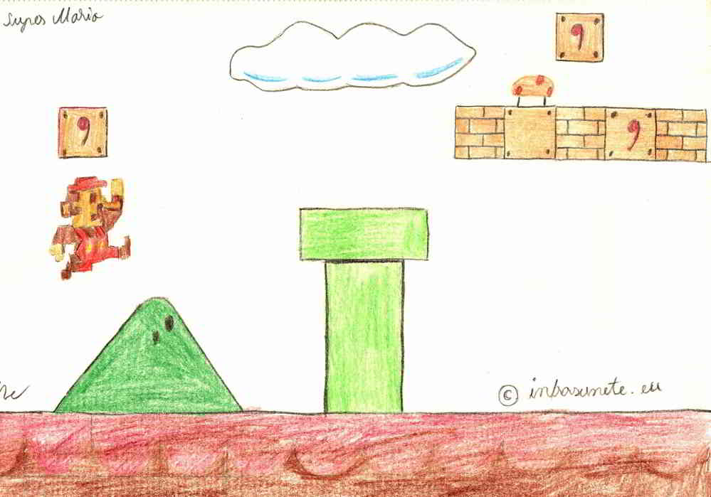artwork in creion Super Mario
