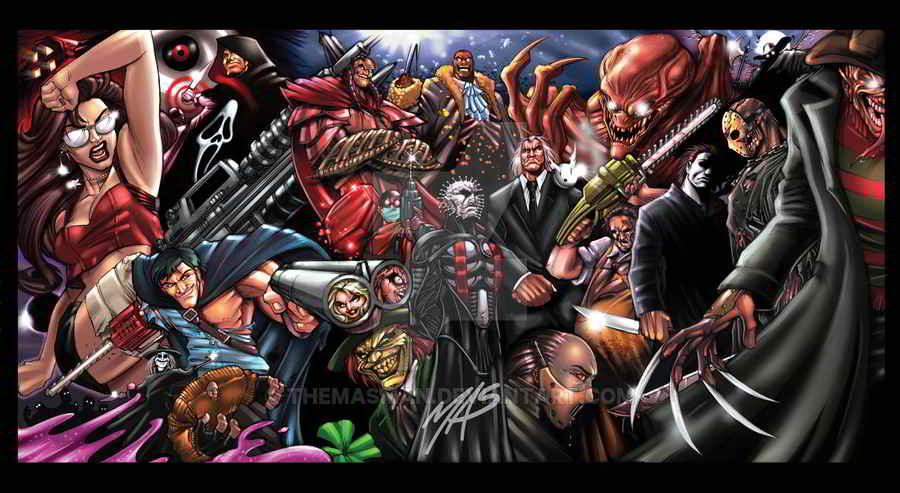 desen cu personaje multe din filme horror