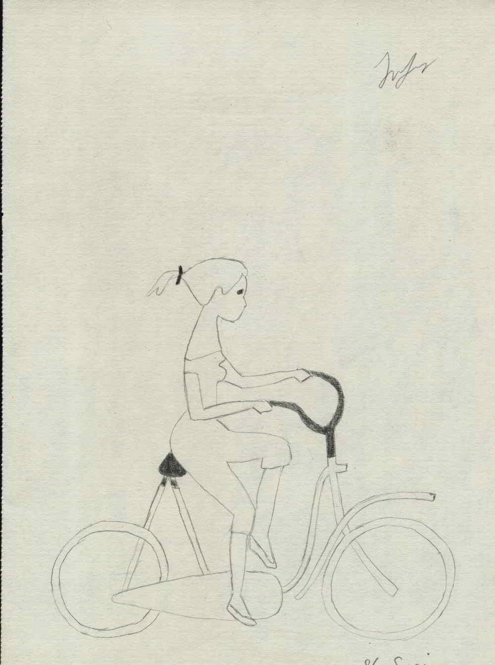 fata pe bicicleta desen in creion