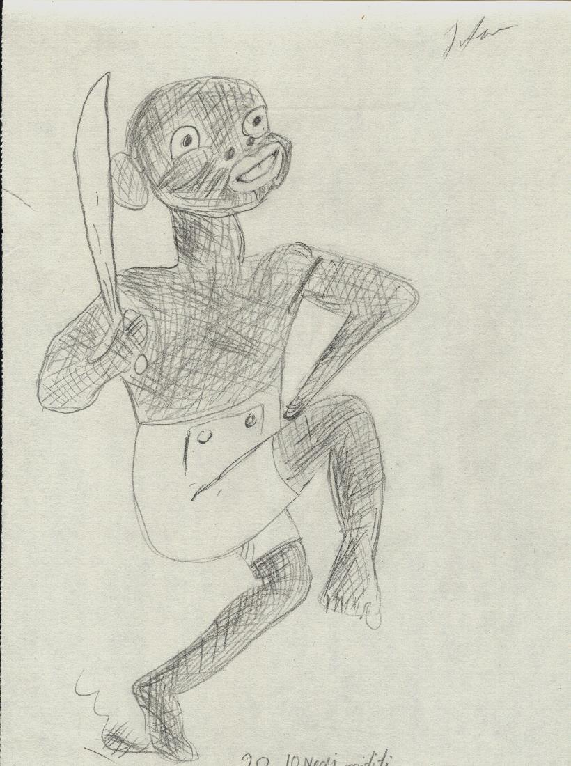 zece negri mititei desen in creion
