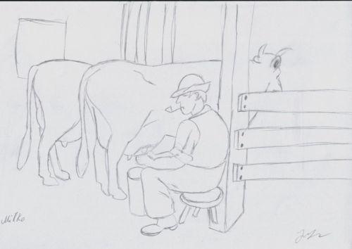 aparat de muls vaci desen in creion