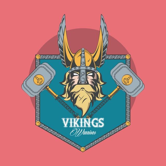 cap de viking cu doua ciocane